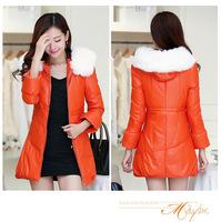 2014 Winter Women' Pu White Duck Down parkas Pu Leather Plus Size Fur Zipper Ladies' Long Casual Coats S207-6660