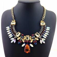 2014 NEW Z Design Fashion Necklace Gorgeous Crystal Fashion Jewelry Necklaces & Pendants Multi-ethnic Rainbow Statement Necklace