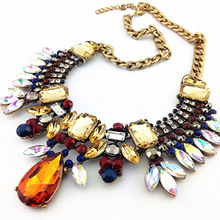2015 NEW Z Design Fashion Necklace Gorgeous Crystal Fashion Jewelry Necklaces Pendants Multi ethnic Rainbow Statement