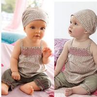 Kids Baby 3PCS Set Cotton Sleeveless Ruffled Tops+Long Pants+ Headband Outfits Free Shipping