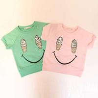 BABY GIRLS SHORT SLEEVED COTTON T-SHIRT ICE CRAEM SMILE KIDS SHIRTS TOPS SUMMER