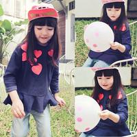 New Fashion Kid Girls Blue Long Sleeve T-shirt Cotton Heart Print Ruffled Tops Shirts 1-5Y Free Shipping