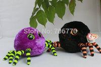 "IN HAND!  MINT TY BEANIES BOOS ORIGINAL PLUSH  Glitter~Crawly Purple/Black Spider ~ 6"" 15CM big eyes Stuffed TOY  FREE SHIP"