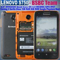 Original Lenovo S750 IP67 Waterproof  MTK6589 Quad Core Mobile Phone Android 4.2.1 1GB RAM 4GB ROM 4.5'' IPS 960x540 GPS WCDMA