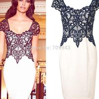 Celebrity women 2014 Square neck lace Elegant Printted  party dress fancy fashion evening dress popular patchwork Bodycon dress