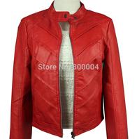 FW thick women PU jacket with velvet red orange black free shipping