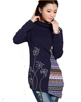Free Shipping ! Women National Wind Winter High collar Embroidered Shirt ,Female Fashion Blue Printing Long Blouse M L XL XXL