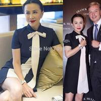 2014 new elegant bow casual office dress fashion White black contrast women dresses patchwork short sleeve evening Boydcon dress