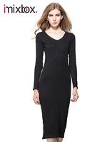 Long Dress Women Knitting Cotton Dress Knee-length dress Slim Casual Dress Fit Autumn winter 2014 New CHIC! W3375