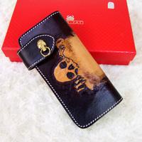 Hong Kong OLG. YAT Retro National style New design  the skeleton handmade carving  leather men's wallet long hand bags