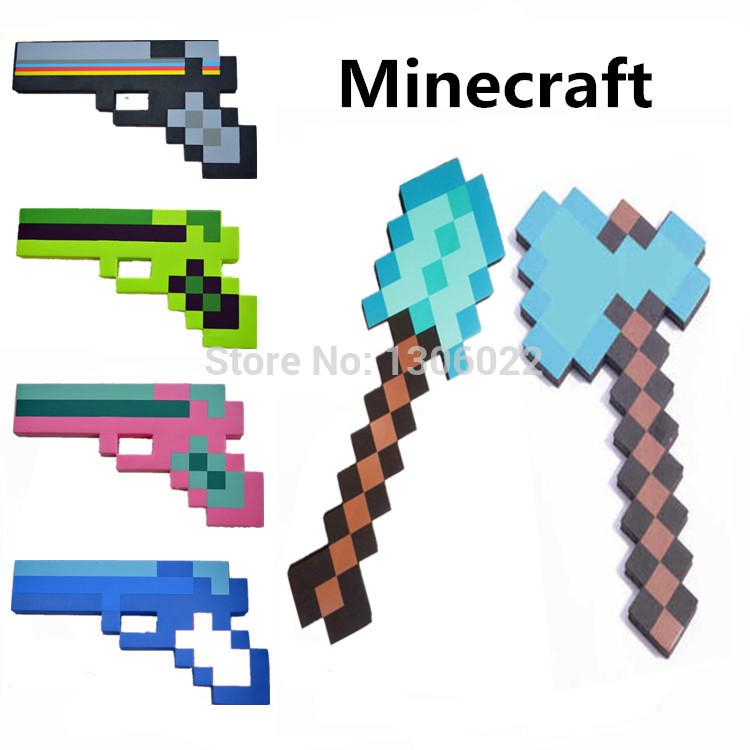 Foam Diamond Minecraft Axe & Sword & Pickaxe Gun of my small world,minecraft toys for children outdoor game(China (Mainland))