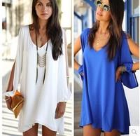 Hot new women's European style  loose v-neck chiffon A-line dress short