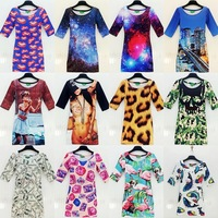women summer dress 2014 Rihanna US dollar lips leopard Galaxy casual desigual women's party vestidos sexy ladies girls dresses
