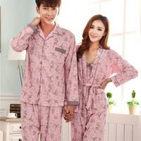 Long-sleeved cute cotton pajamas for women three-pieces set cardigan sleepwear