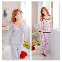 Free shipping long-sleeved cotton pajamas woman sexy temptation tracksuit set