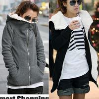 Winter Coat Women 2014 New Parka Hoodies Casual Coats Full Sleeve Long Warm Zip Outerwear Free Shipping Jackets Women Down Coat