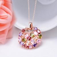 women Fashion Crystal Sweet style Stones Round Diamond rhinestone crystal Pendant Necklace B19 SV006969