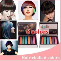 6pcs/lot Easy Temporary Hair Chalk 6 Colors Non-toxic Hair Dye Temporary Soft Hair Pastels Kit Colors Chalk Free Shipping