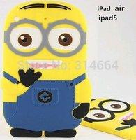 MQQ:1 Pcs 3D Cute Cartoon Despicable Me Minions Little Yellow Doll Soft Silicone Case Cover For iPad 2/3/4/5/Air Protect Skin