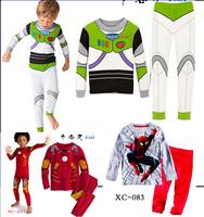 Retail Children Cotton Long Sleeve Cartoon Iron Man spider-man Pajamas Baby Girl Boys Sleepwear Kids Buzz Lightyear clothes set