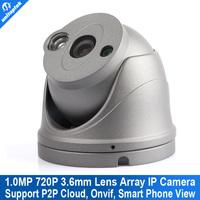 Onvif 720P HD 1.0MP Mini Dome IP Camera,IR Night Vision ip cam,P2P Plug Play CCTV Security camara,Free Phone view