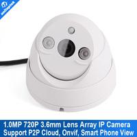 720p HD 1.0MP Mini Dome IP Camera,IR Night Vision ip cam,Onvif P2P Plug Play CCTV Security network camara,Free Phone view