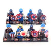 Good quality No box 8pcs/lot mini figures Super Hero Captain America avenger Building Blocks toy birthday gift free ship
