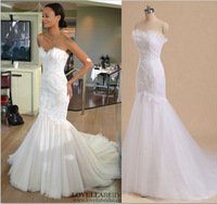 Vestidos de Novia 2014 Mermaid Lace Wedding Dress Zipper Back with Lace Appliques Real Photo