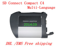 Hot sale new 2014.09 MB star c4 SD Connect Compact 4 Star Diagnosis for mercedes benz only main machine with dhl free shipping