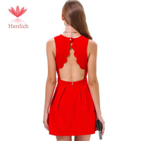 2014 Brand Womens Summer Sexy Casual Party Evening Short Mini Dress Sleeveless Backless Pleated Dress Red Cotton Dress D109A8W