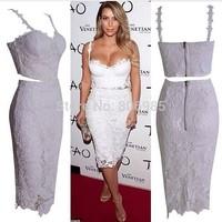 New white flower lace 2 two piece dress wholesale knee length midi Bodycon dress