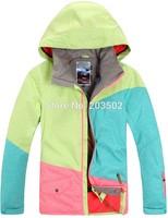 2014 womens three color matching ski jacket snowboard jacket ladies pink blue green ski jacket snow parka skiwear waterproof 10K