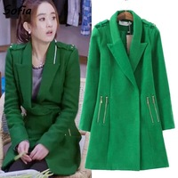 2014 new woolen jacket fashion women Slim long thick woolen coat causal star style green woolen coats overcoat SC2053