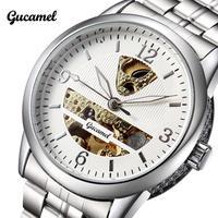 2014 Fashion Brand Gucamel Crystal Mirror Stainless Steel Skeleton Mechanical Men Watch For Mens Mechanical Sport WristWatch