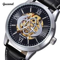 Luxury Brand Gucamel Men Automatic Mechanical Waterproof Watch Roman Number Hollow Watches Men Leather Strap Watch Wristwatch