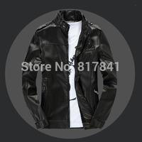 2014 new men's leather jacket winter Korean catwalks shall Slim leather jacket PU high quality Business jacket hot sale