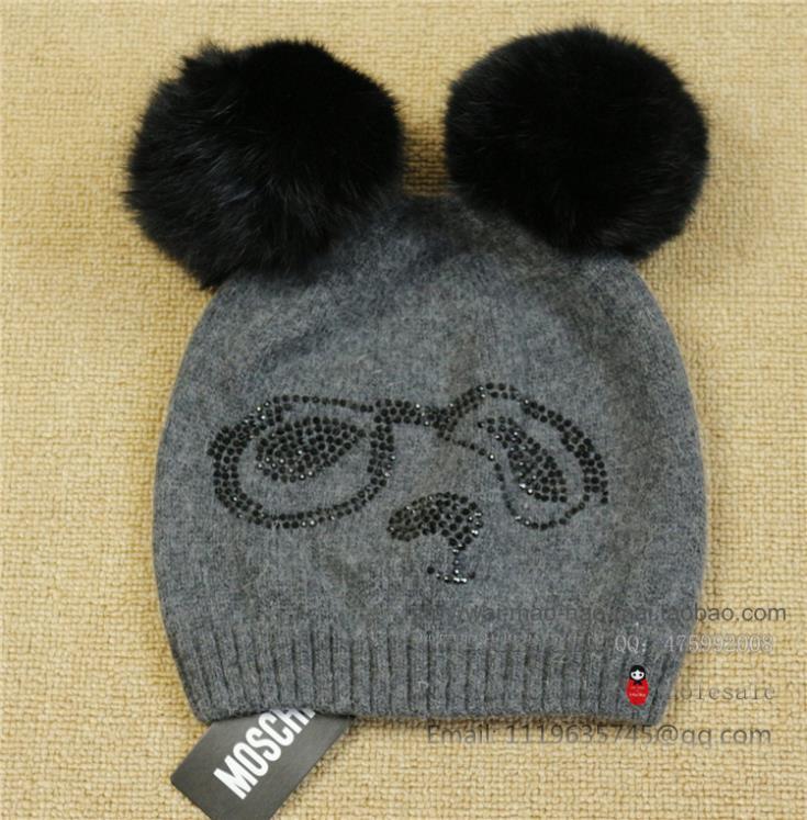 new 2014 lovely women warm winter wool hat knitting hat 2 big rabbit hair ball drill fash