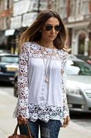 2015 Autumn new Women Lace Sleeve Chiffion Blouses Emboriey Gorgeous Shirts long Sleeve embroidery Crochet Trim Blouse B1005