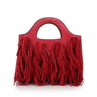 Free shipping new arrival women suede leather red wedding tote bag fashion lady tassel stylish fringe clutch handbag wholesale
