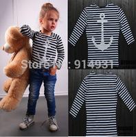 New Arrive Children Striped T Shirt Quality Brand Kid's Anchor Printed T Shirt Helf Sleeve Girl's Tee