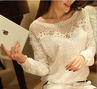 Free shipping New 2014 blouse women tops lace blouse roupas femininas chiffon blusas feminina camisas renda Hollow Out blouses