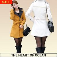 Fashion Women Wollen Winer Coat Zipper Bow Adjustable Waist Female Trench Coat Slim Belt Warm Student Coat Desigual  W099