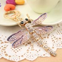 Christmas Gift Full Rhinestone Crystal Dragonfly Keychain Alloy Keyring handBag Charm Real Gold Plated ,Nickel free