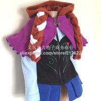 2014 New autum winter frozen coat costume girls Frozen Hoodies Anna braids jacket clothing for children girl hoodies casual coat