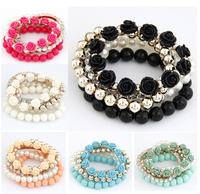 Wholesale Mix flower beads stretch bracelet temperament  bangle bead bracelet Fashion Women Jewelry Accessories ,12pcs/lot