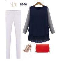 2014 New Arrival Trendy Autumn Women Casual Blouse Fashion Chiffon Patchwork Blouses Long Sleeve CX851971