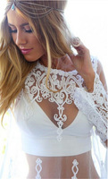 New Arrival Trendy Fashion Smock Outfits Tops Long Sleeve Mesh Embroidery Transparent Blouse European Women Lace Blouse CX851991