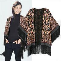 2014 Autumn & Winter Vintage Casual Women Poncho Outwear Retro Print Kimono Coat Folk Style Floral Print Tassel Dress CX851947