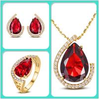 S-0002G,Jewelry set Bijoux bijuterias joias anel Brincos Colar joias ouro 18k plated with Zircon Nickel free