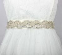 Wholesales New Original Design Korea Style Bridal Sashes Made Of Rhinestones Beaded Trim Wedding sashes For Veil